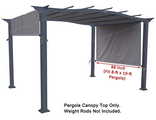 ALISUN Universal Pergola Canopy Top for 8-ft x 10-ft Pergola Structure - Grey (Canopy Fabric Top Only, Size: 196-inch x 88-inch)
