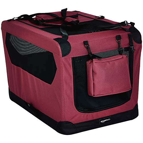 Amazon Basics Premium Folding Portable Soft Pet Dog Crate Carrier Kennel - 30 x 21 x 21 Inches, Red