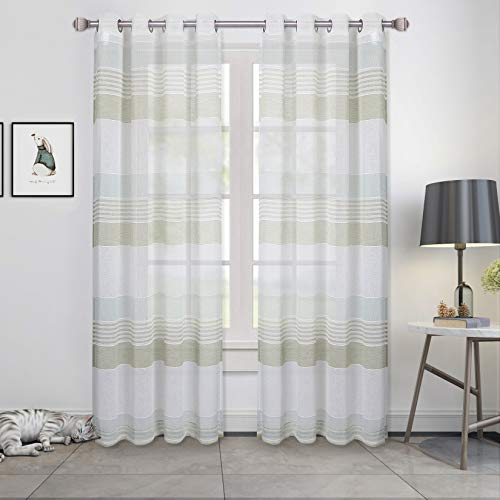 """Haperlare Sage Green Sheer Curtains, Room Decorative Splicing Stripe Voile Grommet Sheer Curtain Panels Yarn Dyed Boucle Linen Textured Semi Sheer Window Drapes for Bedroom, 52"""" W x 63"""" L, 2 Panels"""