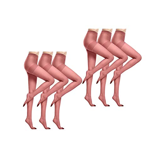 Pantimedias De Las Señoras, Medias Trasparente, Ligero, Fresco Y Transpirable, Resistente Al Estiramiento, Buena Resiliencia, Sin Deformaciones, Lencería Sexy Mujer, Pack De 6 ( Color : Dark red*6 )