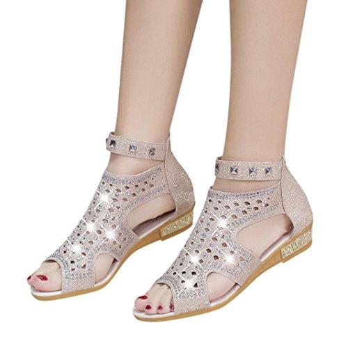 Sandalen Damen, Sannysis Frühling Sommer Damen Frauen Keil Sandalen Mode Fisch Mund Hohl Roma Schuhe (Beige, EU:39)