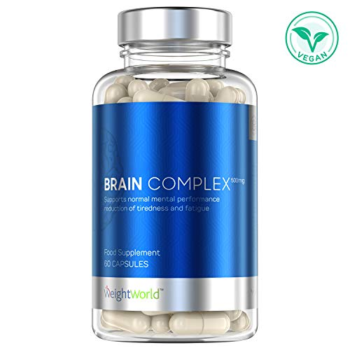 BRAIN COMPLEX - Boost Concentration et Mémoire - Stimulation Cerveau - Motivation - Anti Fatigue - Anti Stress Naturel - Nootropique - Enrichi en Acides Aminés et Caféine - 60 Gélules -WeightWorld