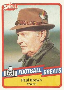 Paul Brown football card (Cleveland Browns Coach) 1989 Swell Greats #69 Pro Football Hall of Fame