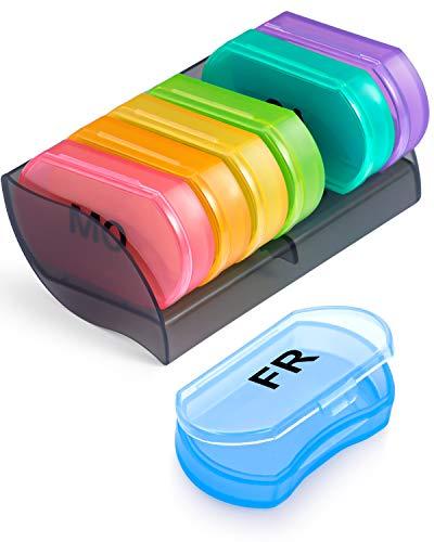 Tablettenbox 7 Tage - BUG HULL Kleine Medikamentenbox Pillendose 7 Tage 1 fächer für Unterwegs (Tablettenbox 7 Tage 1 Fächer)
