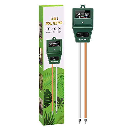 SLAOUWO Soil pH Meter, Soil Moisture Meter for Plants, Soil Light Test Kit Indoor & Outdoor, Soil Tester for Garden, Potted, Farming, No Battery Needed
