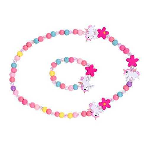 SOIMISS 1 juego de joyas para niños de colores, de madera, con unicornio, pulsera para niñas, regalo para festivales y fiestas.