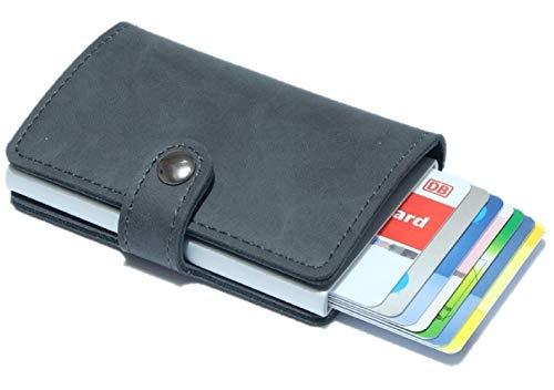 Igel Kreditkartenetui - Mini Geldbörse - Slim Wallet bis zu 10 Karten mit RFID Schutz für Alltag. Erstklassig auch als Geschenk (Grau)