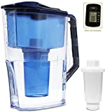 Alkaline Water Filter Pitcher,2.5L Filter Kettle, High PH Alkaline Water Filter Pitcher, Unique Multi-Stage Filtration, BPA Free for Healthy, Clean & Toxin-Free Mineralized Water Filter jug