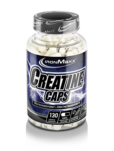 Ironmaxx Creatine Caps - 130 Kapseln - Creatin Monohydrat Kapseln - hochdosiert, 4800mg Kreatin pro Portion - hochwertiges Kreatin - Beliebt bei Kraft-Sportlern & Bodybuildern - Designed in Germany