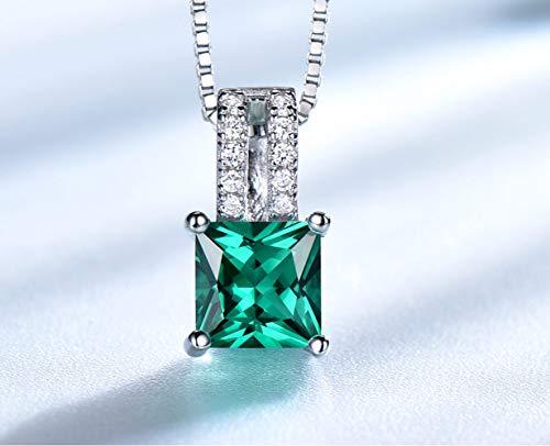 Pure 925 sterling zilveren hangers voor vrouwen Green Princess-cut Emerald Charm Wedding Pendant Fine Jewelry zonder ketting,1