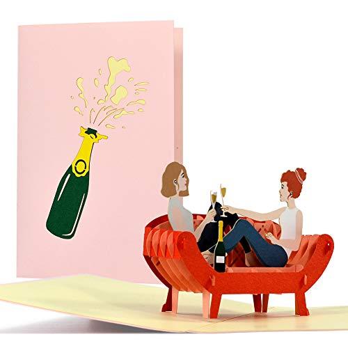 Geburtstagskarte beste Freundin I Einladung Mädelsabend, Weiberabend | Pop Up 3D | Gutschein, Geschenke für Frauen zum Geburtstag, JGA, H30