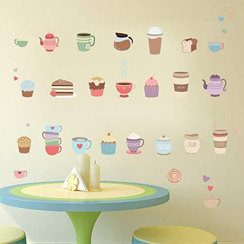 SHQBZPYS 3D DIY wandsticker koffie thee eten drinken keuken koffie winkel