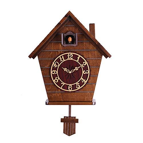 QLAT HOME Reloj de Pared de Cuco Reloj de Cuarzo de Madera Vintage Mecedora silenciosa Sala de Estar...