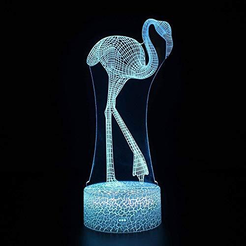 Cartoon Cute Pet Lovely Animal Christmas 3D Night Light Bedroom Decoration Love Toys Kids Gift Table Lamp Flamingo