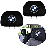cargooghi 2 Pack Headrest Covers for BMW, Soft Black Fabric Head Rest Cover Universal Fit to All Car/Truck Models