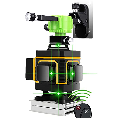 Nivel láser de línea verde cruzada 4x360 16 líneas de alta precisión Nivelación automática Base de elevación de instrumentos Interior y exterior Soporte magnético de pared