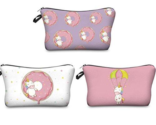 Kfnire 3pcs Unicornio bolsa de maquillaje lápiz bolso impermeable bolsa de viaje cosmético organizador (Donut)