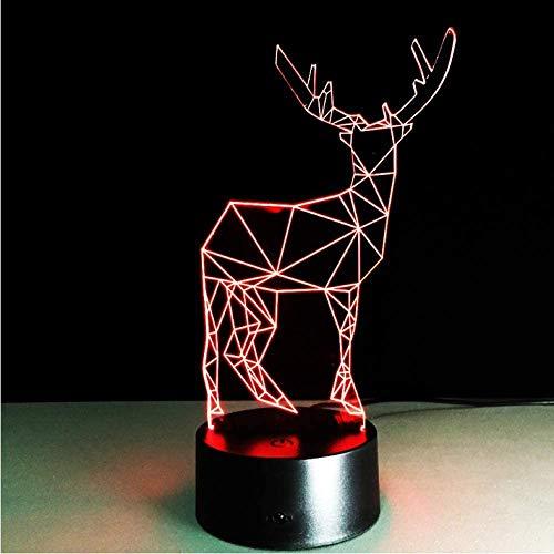 3D LED illusie lamp Deer Long Horned kerstdecoratie nachtlicht gadget verlichting slaapkamer kantoor home cafe verlichting kind noviteit cadeaulamp