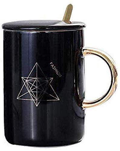 LUISONG FANMENGY Cup geométrica de café Taza de té for Beber Taza de oficinas Regalo Taza nórdico con Tapa con Cuchara Hogar