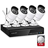 YESKAMO Security Camera System Wireless Outdoor Home Security Camera System 1080P 4Channel Full HD 2.0 Megapixel IP Cameras Video Surveillance System 2TB Hard Drive