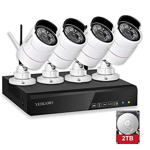 YESKAMO Security Camera System Wireless Outdoor Home Security Camera System 1080P 4 Channel Full HD 2.0 Megapixel IP Cameras CCTV Video Surveillance Cameras Systems with 2TB Hard Drive DVR Kits Surveillance