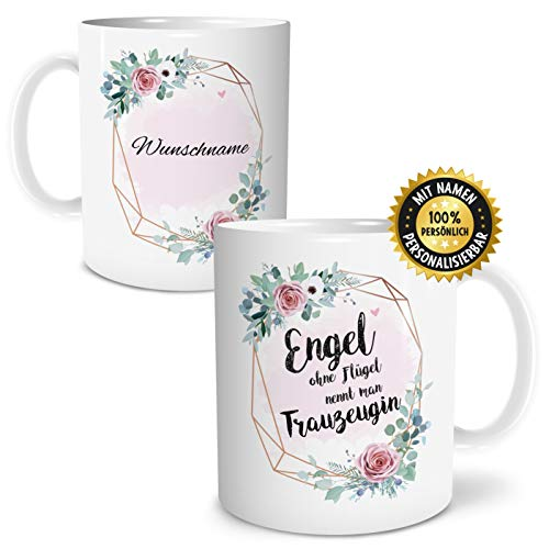 OWLBOOK Engel Trauzeugin Große Kaffee-Tasse mit Spruch im Geschenkkarton Personalisiert mit Namen Geschenke Geschenkidee für Trauzeugin zum Geburtstag