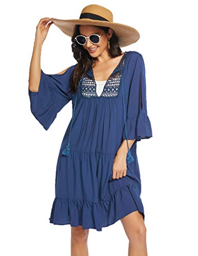 Ekouaer Coverups for Bathing Suits Summer Sexy Boho Style Swimsuit Lightweight Blue,Large