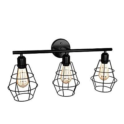 Tangkula 3-Light Industrial Bathroom Vanity Light, Metal Cage Wall Sconces, Vintage Wall Lamp Light Fixture for Bathroom, Vanity Table, Hallway (Black)