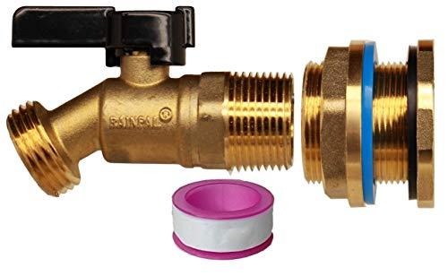 RAINPAL RBS022 Lead Free Compliant Brass Rain Barrel Spigot(3/4' Quarter Turn Ball Valve w/ Bulkhead Fitting and Thread Tape)