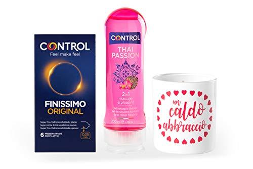Control Sensation Mix Cofanetto di Preservativi Sottili, Gel Massaggio all'Aroma di Fiori e Spezie e Candela Aromatizzata all'Essenza di Forgetmenot