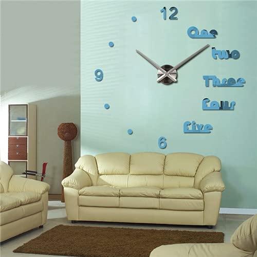 Uiewle DIY 3D Reloj de Pared Diseño Reloj Etiqueta Europea Reloj de Cuarzo Decorativo Grande Efecto de Espejo acrílico Sala de Estar 37 Pulgadas