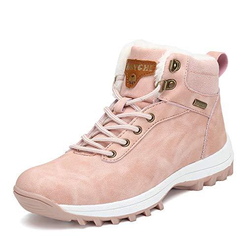 Men's Women's Snow Shoes Fur Lined Warm Water Resistant Anti-Slip Winter Ankle Hiking Boots Pink 6 Women/5 Men