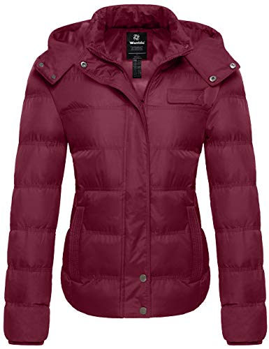Wantdo Lady Cotton Winter Puffer Coat Heated Insulated Warm Jacket Wine Red XL