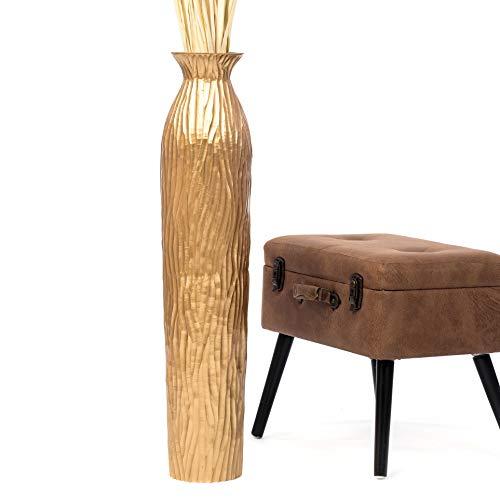 Leewadee Große Bodenvase für Dekozweige hohe Standvase Design Holzvase 90 cm, Mangoholz, Gold