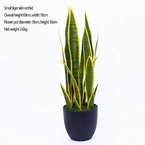 RUIZHISHULarge Kunstplanten, Tijger Huid Orchidee Nep Plant met Zwarte Kunststof Bloempot, Geschikt voor Woonkamer, Hek, Schelp, Trap, Gang, 7heads69cm