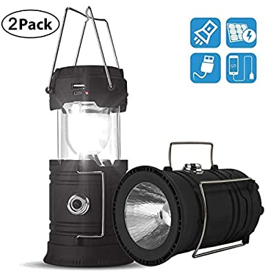 Solar Lantern Flashlights, USB Rechargeable Camping Lantern Led, Collapsible & Portable for Emergency, Hurricanes, Power Outage, Storm
