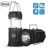 2 Pack Solar Lantern Flashlights Charging for Phone, USB Rechargeable Camping Lantern Led, Collapsible & Portable for Emergency, Hurricanes, Power Outage, Storm,School Emergency Lighting
