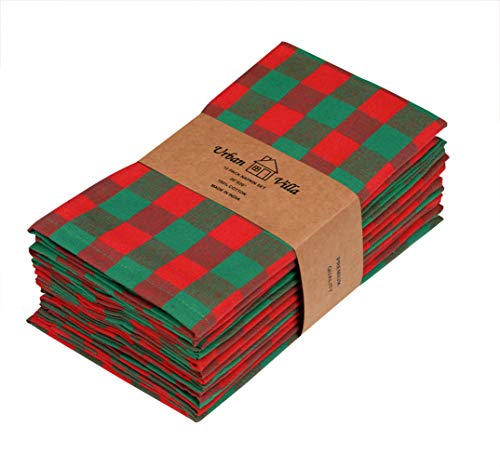 Urban Villa Dinner Napkins, Everyday Use, Premium Quality,100% Cotton, Set of 12, Size 20X20 Inch, Red/Green Over sized Cloth Napkins with Mitered Corners, Ultra Soft, Durable Hotel Quality
