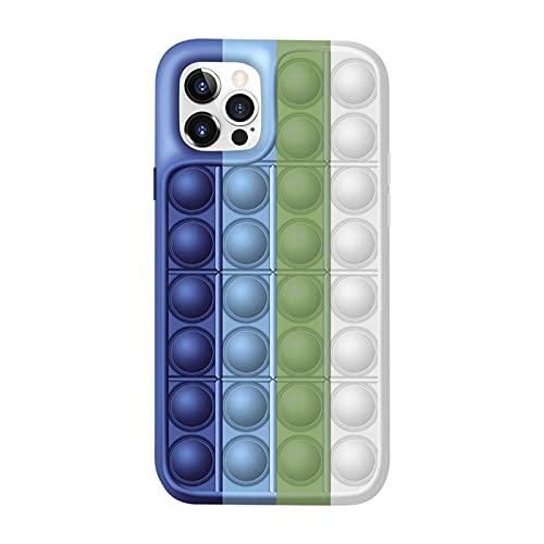 WDL Push Pop Blase Time Spielzeug Telefon Fall 3D Weiche Silikon Rainbow Fall Release Stress Ganzkörper Schutz Stoßfest Decke Für iPhone (Regenbogen) E-for iPhone 7/8/SE2020