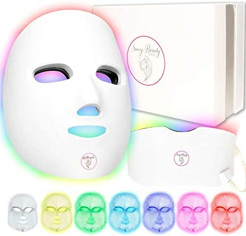 7 Color Wireless Facial Skin Care Mask with Neck Proven Red and Blue Photon Treatment Mask Korean product image
