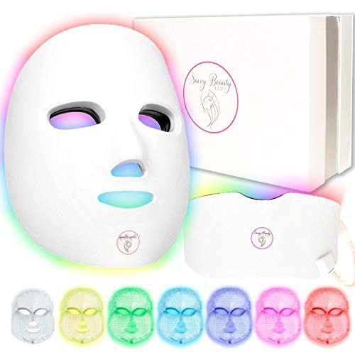 7 Color Wireless Facial Skin Care Mask with Neck - Proven Red and Blue Photon...