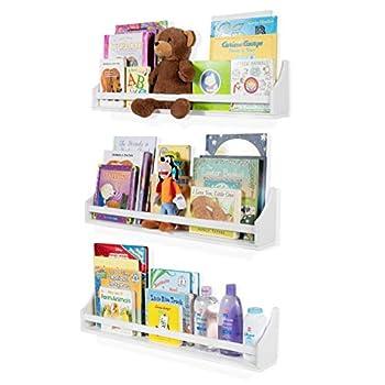Nursery Décor Wall Shelves – 3 Shelf Set – White Long Crown Molding Floating Bookshelves for Baby & Kids Room Book Organizer Storage Ledge Display Holder for Toys CDs Baby Monitor