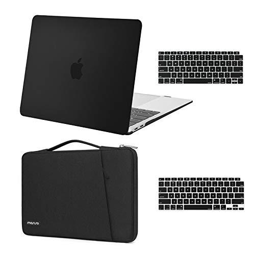 MOSISO Funda Dura Compatible con MacBook Air 13 Pulgadas 2020 2019 2018 A2337 M1 A2179 A1932,Plástico Carcasa Rígida & 360 Protectora Bolsa & Piel de Teclado,Negro