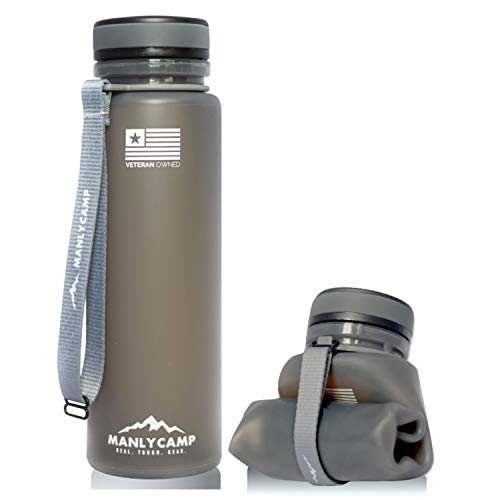 MANLYCAMP REAL. TOUGH. GEAR. Collapsible Water Bottle - 22 Oz - BPA Free Silicone - for Hiking, Camping, Gym, Military & Travel (Charcoal)