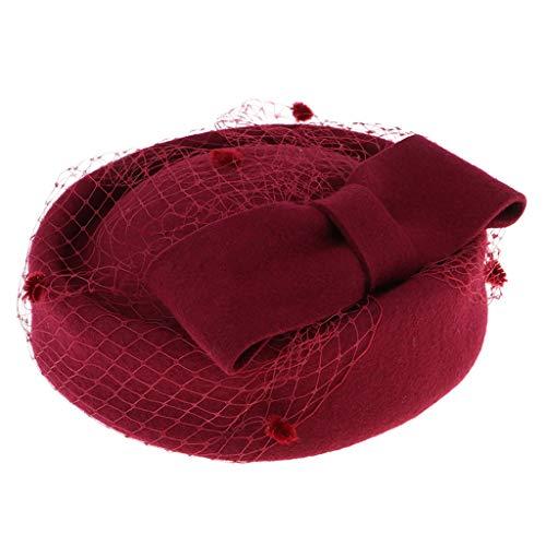 Fenteer Fascinateur Chapeau de Boîte à Pilules Rétro Douce et Confortable avec Voile Arc en Résille Classiques - Bourgogne
