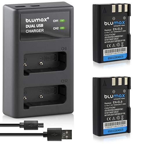 Blumax 2 baterías para Nikon EN-EL9 / EN-EL9e / EN-EL9a 1000 mAh + cargador USB dual | compatible con Nikon D3000, D40, D40x, D5000, D60, D 3000, D 40, D 40x, D 5000, D 60