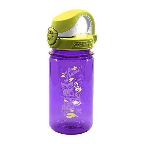 Nalgene Kinder OTF 0.35L Trinkflasche, violett Eule, Deckel grün-hellgrün, 0.375 L