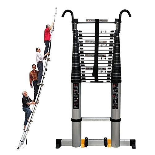 ERLAN Escalera Telescópica 8m Más Alto Escalera Telescópica con Ruedas y Pies Antideslizantes, Escaleras Extensibles Plegables para Mantenimiento de Edificios/Casa, Capacidad 330LB (Size : 8m/26ft)