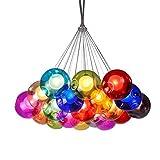RSGK Lampadario a Bolle di Colore per vetrate Multi-Luce, Sfera di Vetro Diametro 12 cm, Soggiorno Creativo Sala da Pranzo cameretta a Bolle di Colore