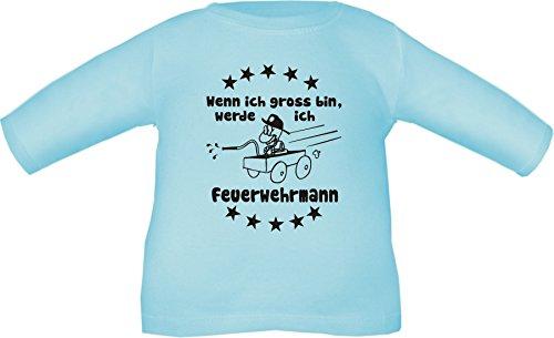 Baby/Niños Camiseta de Manga Larga Cuando yo Grande Bin, voy a Bombero/Tamaño 60–152EN 6Colores Azul Claro